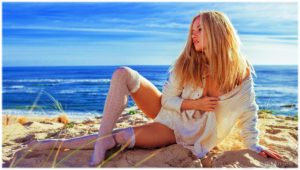 Hot blonde on the beach